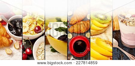 Photo Of Fruits, Cheese, Yogurt, Jam, Muesli Abstract Mix Stripes. Healthy Breakfast Collage, Concep