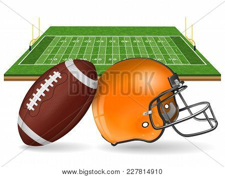 American Football Field With Realistic Ball, Goal, Helmet, Line And Grass Texture. Isolated Vector I