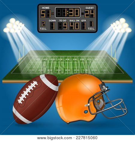 American Football Field With Realistic Ball, Goal, Helmet, Scoreboard, Line And Grass Texture. Vecto