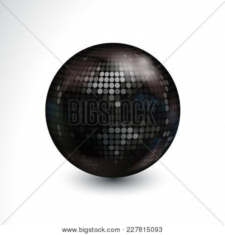 3d Illustration Of Black Disco Ball With Light Spots And Shadow Over White Background