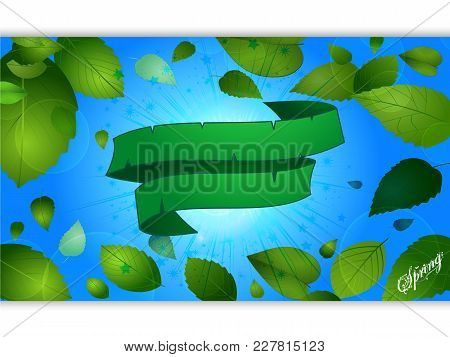 Spring Season Blue Panel With Green Leafs Decorated Text And Green Blank Banner Over Starburst