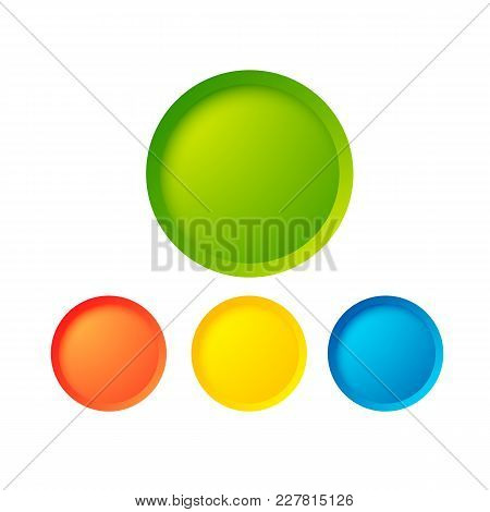 Abstract Web Buttons Set With Colorful Blank Round Elements On White Background Isolated Vector Illu