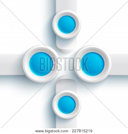 Abstract Web Design Elements With Gray Banners And Blue Round Buttons On White Background Isolated V