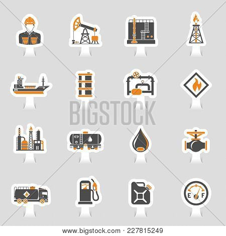 Oil Industry Extraction Production And Transportation Oil And Petrol Two Color Sticker Icons Set Wit