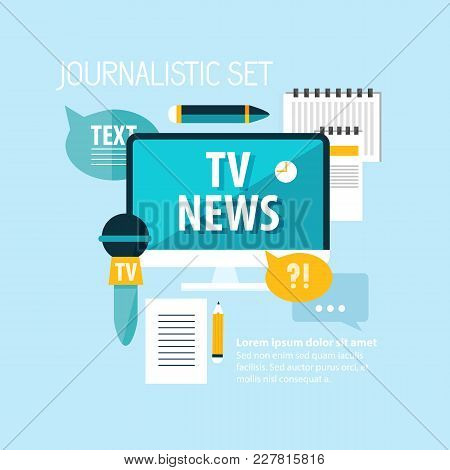 Mass Media Broadcasting Tv News With Microphone Notepad Pencils And Speech Clouds On Blue Background