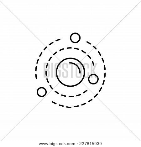 Solar System Icon In Line Style. Space Illustration With Solar System In White Background. Element F
