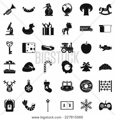 Infant Playground Icons Set. Simple Set Of 36 Infant Playground Vector Icons For Web Isolated On Whi