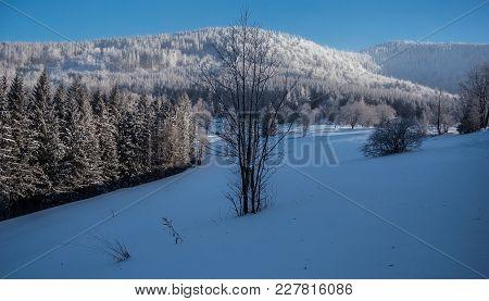 Frozen Luksinec And Lysa Hora Hills From Butoranka Above Ostravice Village In Moravskoslezske Beskyd