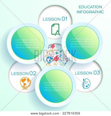 Back To School Infographics With Three Glossy Colorful Circles And Round Holes With Icons Vector Ill