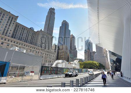 New York City - August 23: Street Near Wtc Transportation Hub On August 23, 2017 In New York City, U