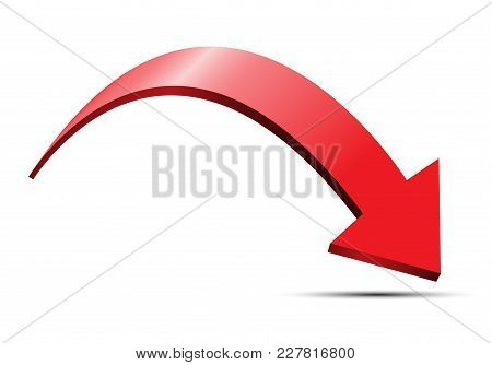 Red Arrow 3d Curve Direction Design On White Background Vector Illustration.