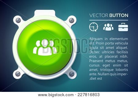 Business Infographic Design Concept With Text Icons And Attached Green Round Button Isolated Vector