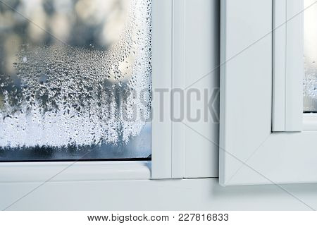 Double Glazed Pvc Window Condensation On The Glass.