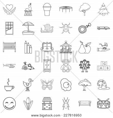 Childminder Icons Set. Outline Set Of 36 Childminder Vector Icons For Web Isolated On White Backgrou