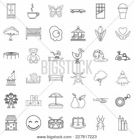 Nursemaid Icons Set. Outline Set Of 36 Nursemaid Vector Icons For Web Isolated On White Background