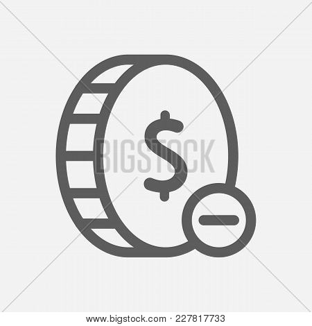 Lose Money Icon Line Symbol. Isolated Vector Illustration Of Lose Coin Sign Concept For Your Web Sit