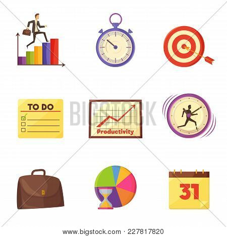 Colorful Graphics, Old Timer, Target With Arrow, To Do List, Mechanical Clocks, Leather Briefcase An