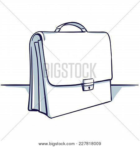 Suitcase Isolated On The White Background. View Under The Foreshortening. Hand Drawn Doodle Cartoon