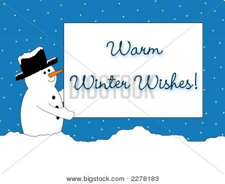 Snowman Warm Winter Wishes