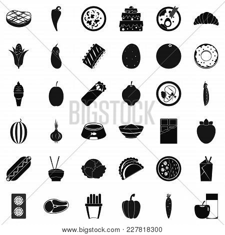 Food Value Icons Set. Simple Set Of 36 Food Value Vector Icons For Web Isolated On White Background