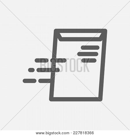 Global Business Delivery Icon Line Symbol. Isolated Vector Illustration Of Send Envelope Sign Concep