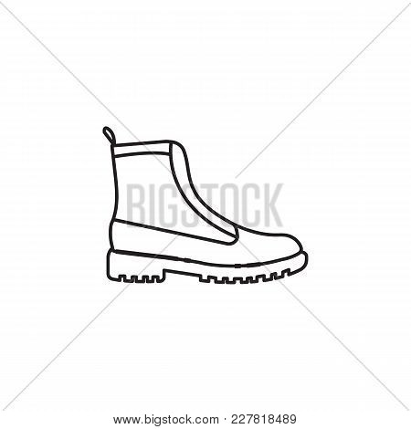 Hiking Army Military Boot Isolated On White Background, Combat American Military Boot. Shoe Object