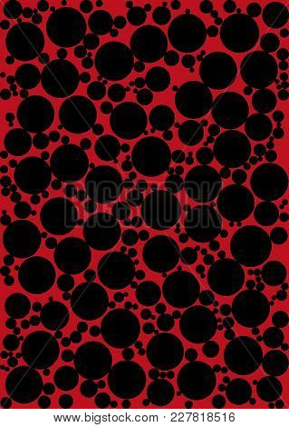 Abstract Red Background Of Black Circles Of Various Sizes. Vector Illustration.