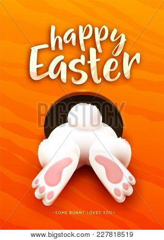 Happy Easter Greeting Card With Funny Cartoon White Easter Bunny Ass, Foot, Tail In The Hole On Brig