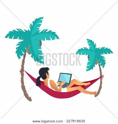 Lying On Cherry Hammack Businesswoman Vector Illustration Of Cute Woman With Computer, Two Palm Tree