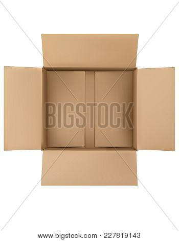 Open Plain Brown Blank Cardboard Box Isolated On White. Top View. Vector 3d Illustration.