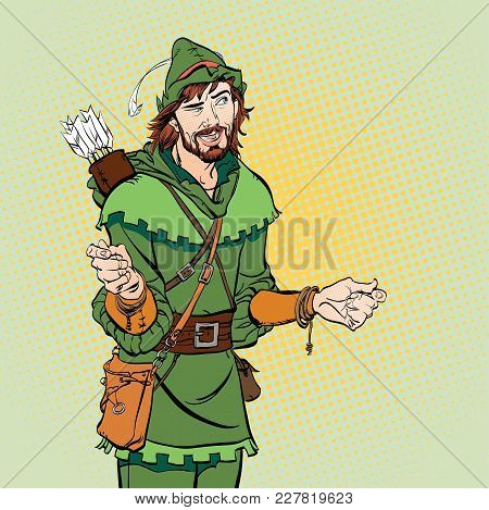 Laughing Robin Hood. Wondering Robin Hood. Robin Hood. Robin Hood in a hat with feather. Young soldier. Noble robber. Defender of weak. Medieval legends. Heroes of medieval legends. poster