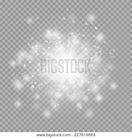 Silvery Light Effect With Shining Rays And Bright Particles Of Stellar Dust On A Transparent Backgro