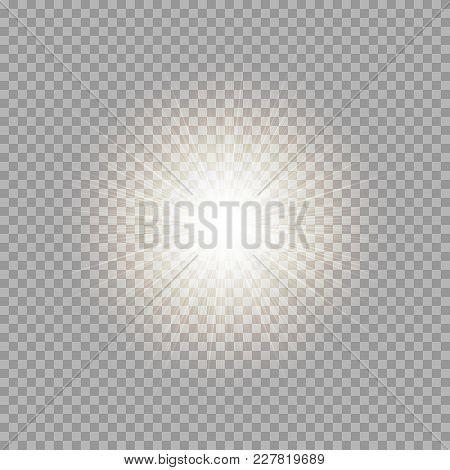 Golden Light Effect With Bright Rays On A Transparent Background