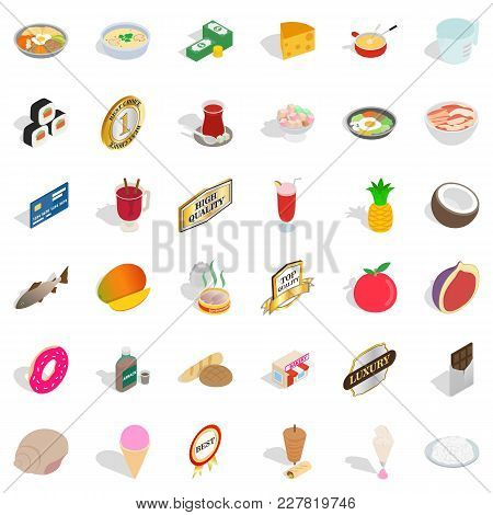 Supply Block Icons Set. Isometric Set Of 36 Supply Block Vector Icons For Web Isolated On White Back