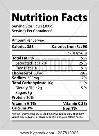 Nutrition Facts Banner, Bright Vector Illustration Isolated On White Background, Black Text Sample,