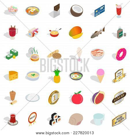 Food Block Icons Set. Isometric Set Of 36 Food Block Vector Icons For Web Isolated On White Backgrou