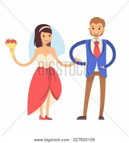 Woman With Veil, And Man Wearing Suit, Tradition Of First Dance Of Newlywed, Loving Couple, Bride An