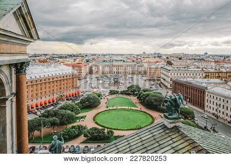 Panoramic View Of The Mariinsky Palace And St. Isaac's Square In St. Petersburg, Russia.