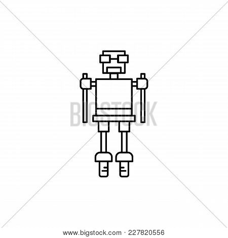 Robot Icon In Line Style. Vector Illustration With Technical Toy Robot Robot On White Background. Ro