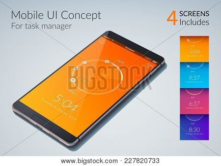 Mobile Ui Concept For Task Manager With Colorful Backgrounds Flat Vector Illustration