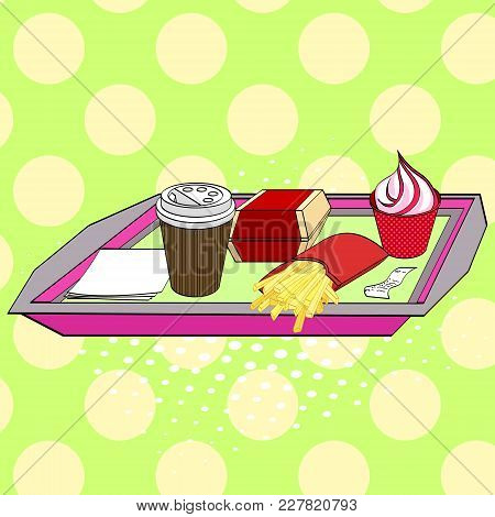 Fast Food On A Tray. Coffee Or Tea, Burger, Ice Cream In A Glass, Napkins, Check And French Fries. P