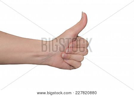 The Thumb Lifted Upwards On A White Isolated Background