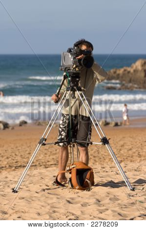 Tv Video Camera And Reporter