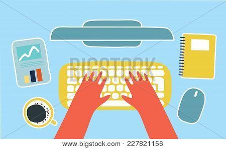 Vector Cartoon Human Hands On Computer Keyboard Of Pc Computer With Screen, Modern Computer Keyboard