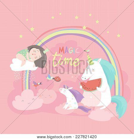 Cute Cartoon Girl With Unicorns. Vector Illustration