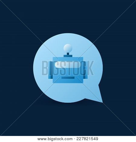 Speech Bubble With Robot Head Inside Icon. Vector Chatbot Concept Sign Or Design Element On Dark Bac