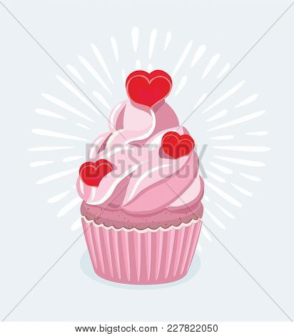 Vector Cartoon Illustration Of Cupcake Decorated With A Heart Shaped Cake Pick