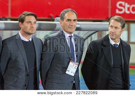 Vienna, Austria, 2017/11/14:  Franco Foda, Imre Szabics And Thomas Kristl At Friendly International