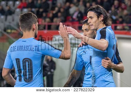 Vienna, Austria, 2017/11/14:  Edinson Cavani Jubilant At Friendly International Soccer Match Austria