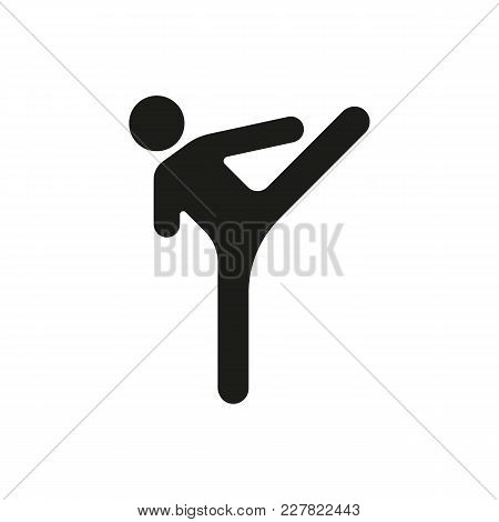 Karate Silhouette Icon. Vector Black Object In Simple Silhouette Style Witn Real Karate Pose On Whit
